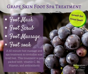 Grape skin foot spa treatment