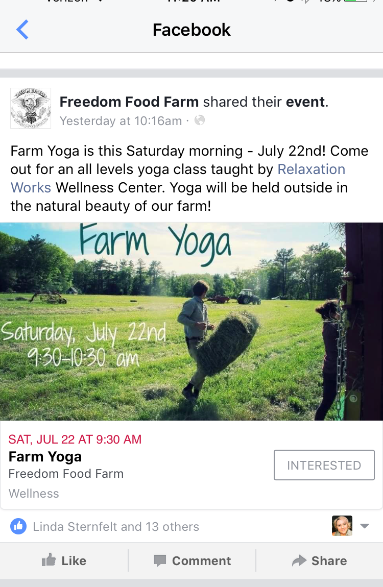 Farm Yoga At Freedom Food Farm This Saturday